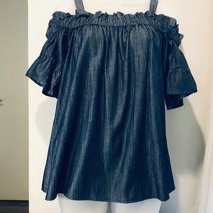 Umgee dark wash chambray off shoulder blouse
